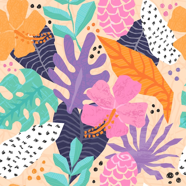 Vector seamless pattern with tropical jungle leaves Premium Vector