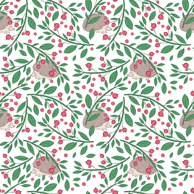 Vector seamless pattern with twigs with berries and hedgehog on a white background Premium Vector