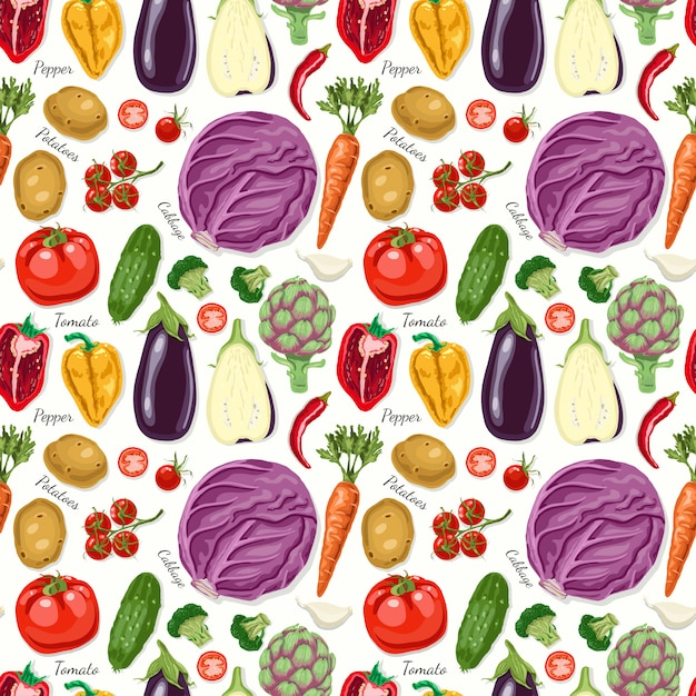 Vector seamless pattern with vegetables Premium Vector