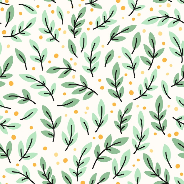 Vector seamless pattern with yellow leaves Premium Vector