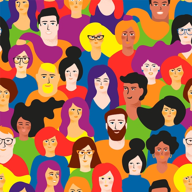 Vector seamless pattern with young men and women in lgbt colors. Premium Vector