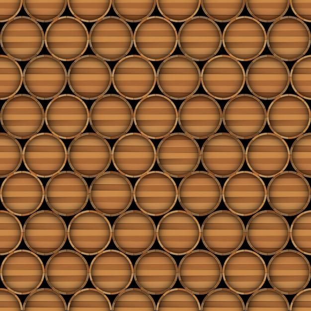 Vector seamless pattern of wooden barrels Premium Vector