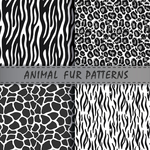 Vector seamless patterns set with animal skin texture. Premium Vector