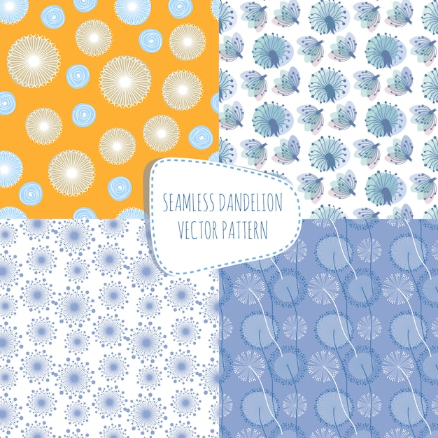 Vector seamless patterns with dandelions Premium Vector