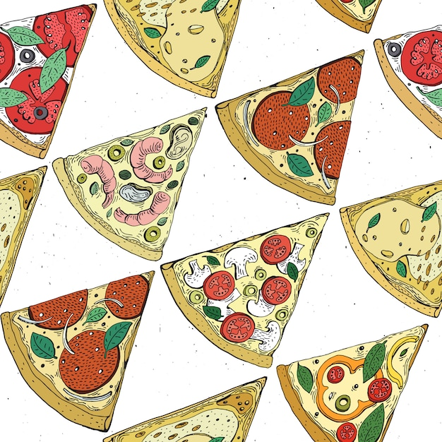 Vector seamless pizza slice pattern. hand drawn pizza illustration. great for pizzeria menu or background. Premium Vector