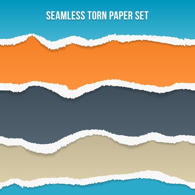 Вектор бесшовные рваной бумаги. оранжевый и синий, серо-серый и полосы, узор и фон Бесплатные векторы