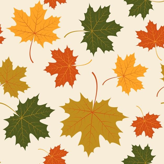 Векторный бесшовные с осенними кленовыми листьями Бесплатные векторы