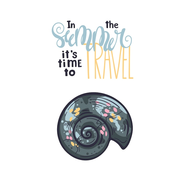 Vector seashells sketches. lettering: in the summer it is time to travel. Premium Vector