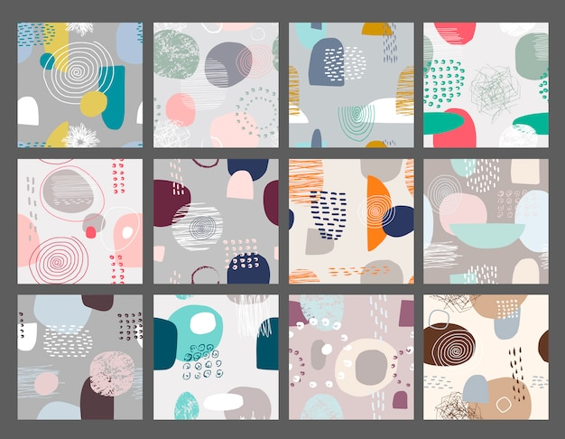 Vector set of abstract seamless patterns. Premium Vector