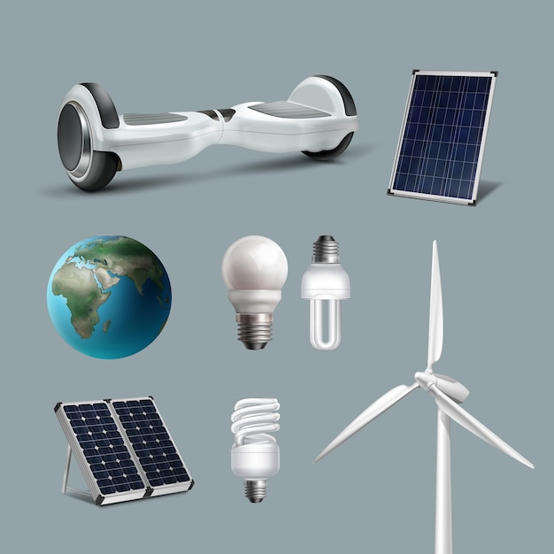 Vector set alternative and renewable energy with wind-powered electrical generators, solar panels, energy saving lamps, clean planet, hoverboard Free Vector