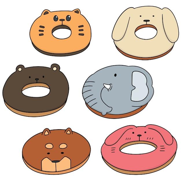 Vector set of animal donut Premium Vector