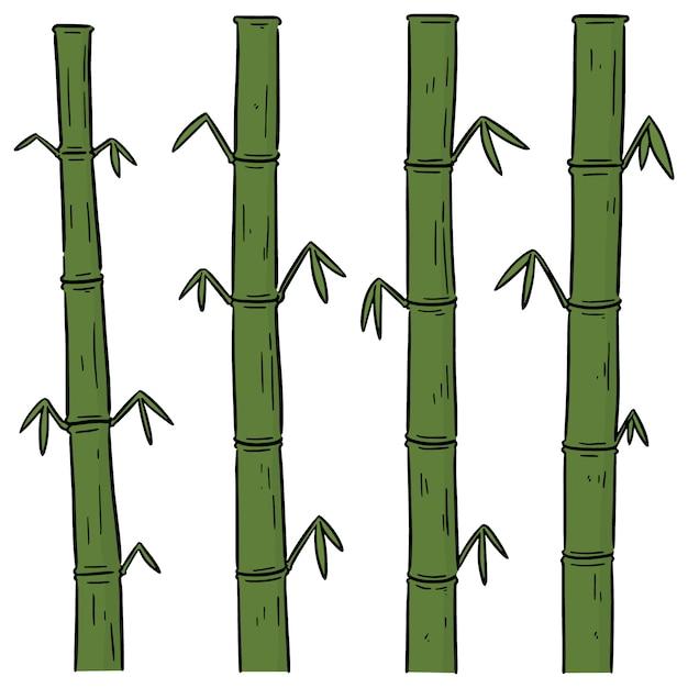 Vector set of bamboos Premium Vector