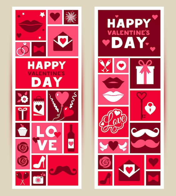 Vector set banners of valentines day Premium Vector