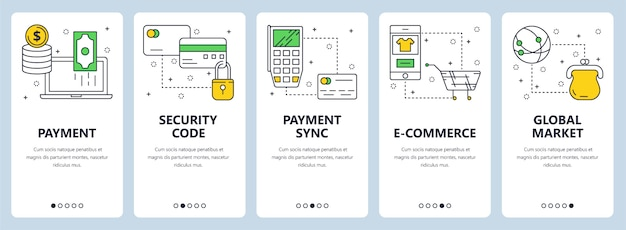 Vector set of banners with payment, security code, sync, e-commerce, market website templates Premium Vector
