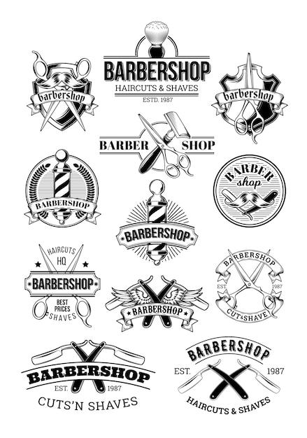 Vector set of barbershop logos, signage Free Vector