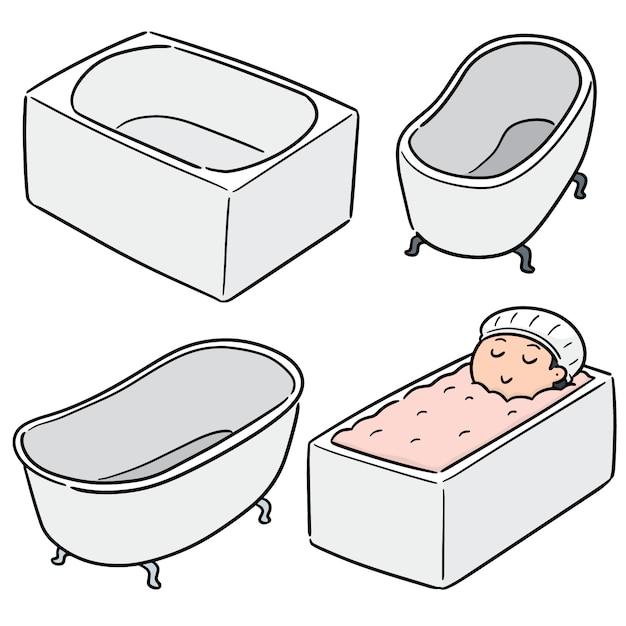 Vector set of bathtub Premium Vector