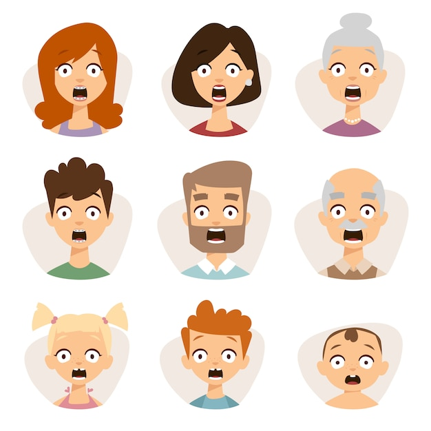Vector set beautiful emoticons face of people character fear avatars. Premium Vector
