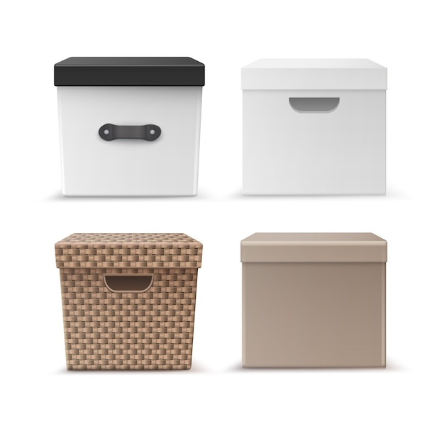 Vector set of black, beige carton, wicker clothes storage boxes with handles front view isolated on white background Free Vector