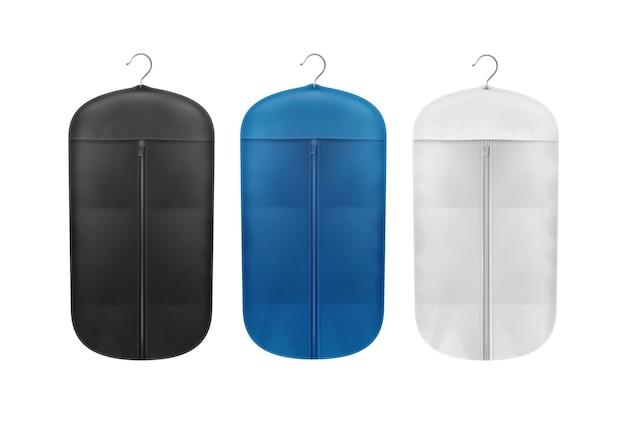 Insieme di vettore delle coperture antipolvere di stoccaggio nere, blu e bianche si chiuda vista frontale isolata su priorità bassa Vettore gratuito