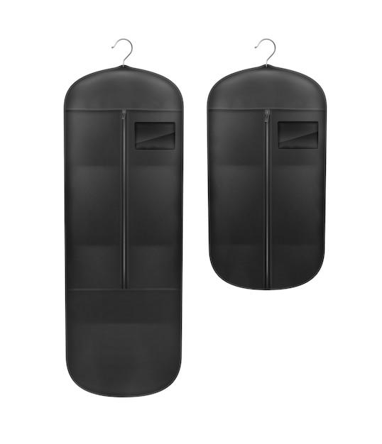 Insieme di vettore delle coperture a prova di polvere di stoccaggio nero vicino vista frontale isolata su priorità bassa bianca Vettore gratuito