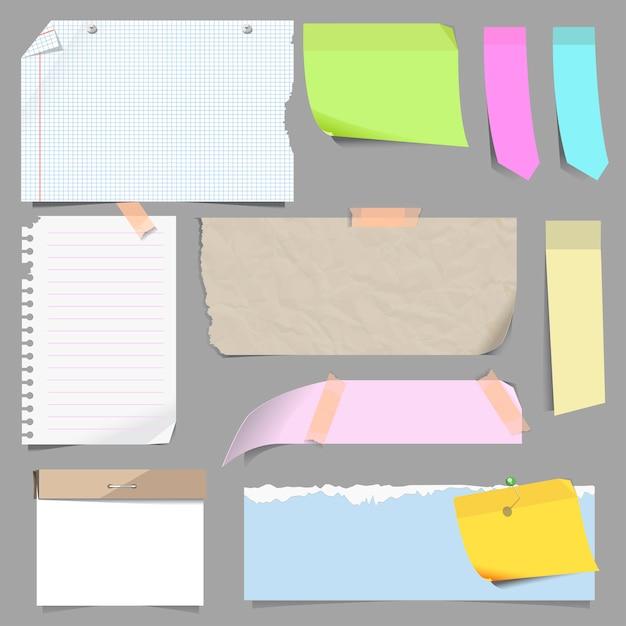 Vector set of blank note paper. Premium Vector