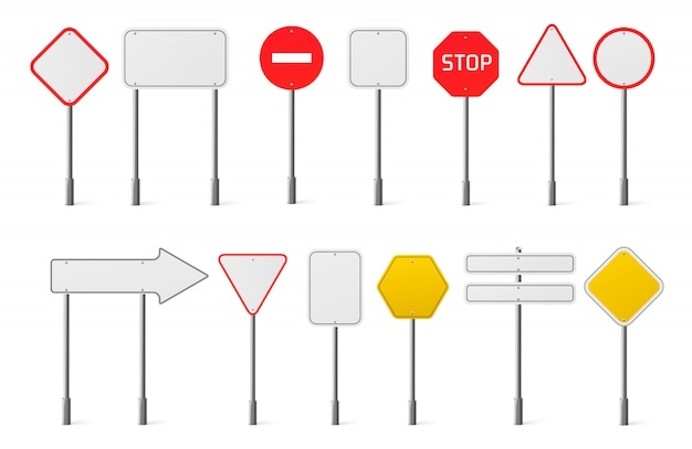 Vector set of blank traffic road signs Free Vector