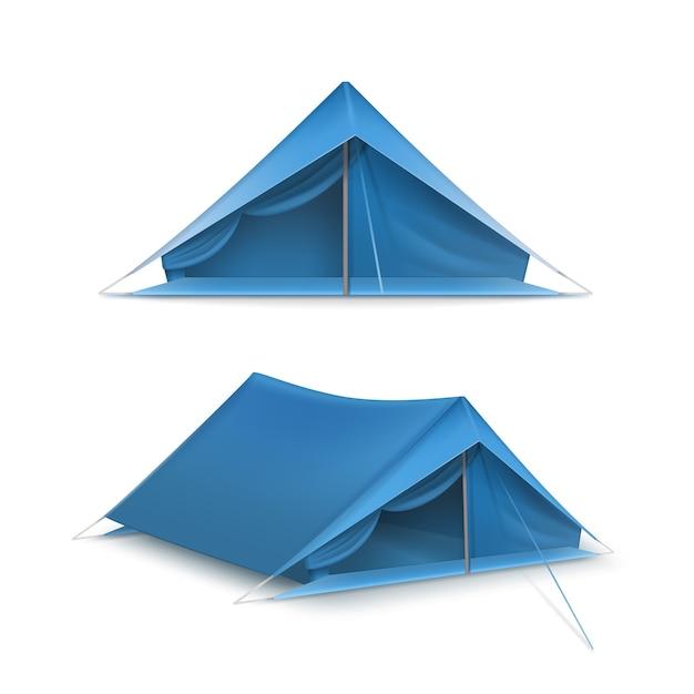 Insieme di vettore delle tende turistiche blu per viaggi e campeggio isolato su priorità bassa bianca Vettore gratuito