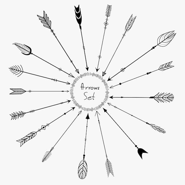 Vector set of boho arrows for decoration Premium Vector