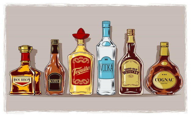 Vector set of bottles with alcohol and stemware Free Vector