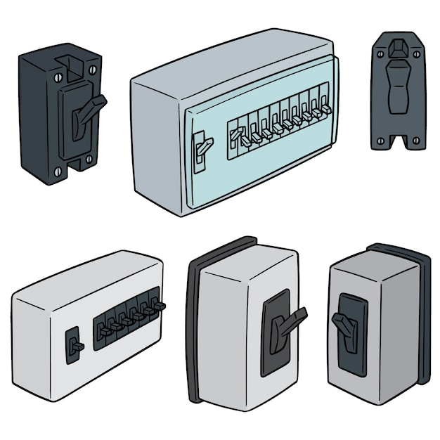Vector set of breaker switch Premium Vector