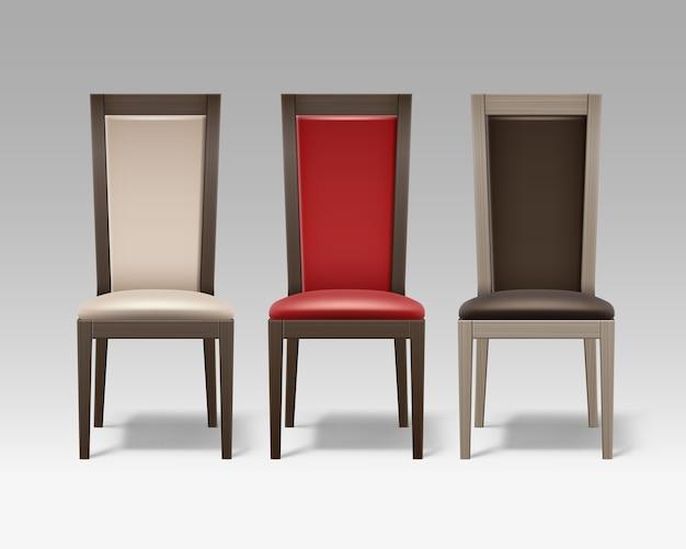 Set vettoriale di sedie da camera in legno marrone con morbido rivestimento beige, rosso isolato su priorità bassa Vettore gratuito