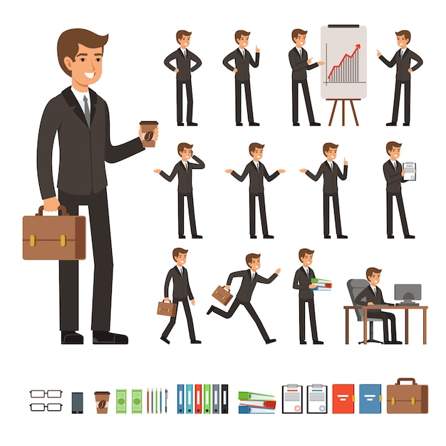 Vector set of businessman in different action poses with accessories. funny characters businessman person in different pose, vector illustration Premium Vector