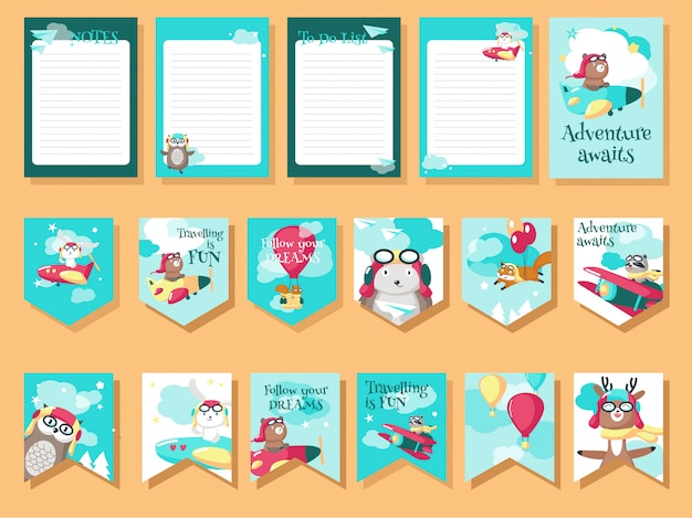 Vector set of cards with pilot animals and travel quotations Premium Vector