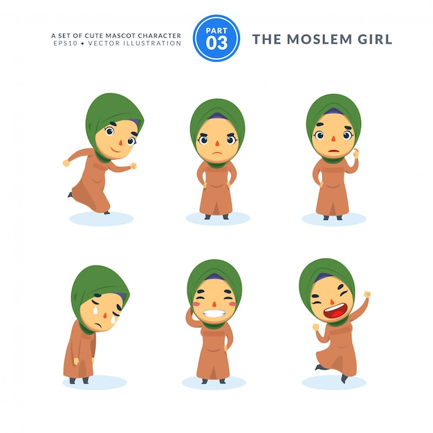 Vector set of cartoon images of moslem girl. third set. isolated Premium Vector