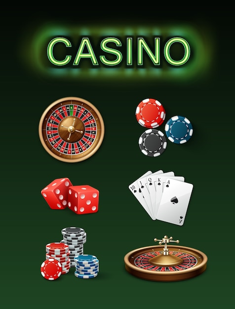 Vector set of casino gambling attributes poker roulette wheel, blue, black chips, red dice, royal straight flush and neon signboard top side view isolated on green background Free Vector