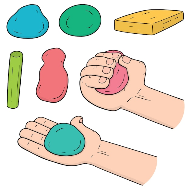 Vector set of clay for kid Premium Vector