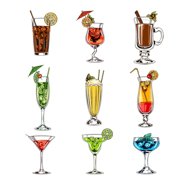 Vector set of cocktail glasses Free Vector