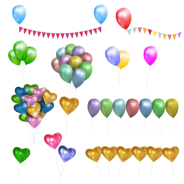 Vector set of color glossy balloons,hearts and bunting flags Premium Vector