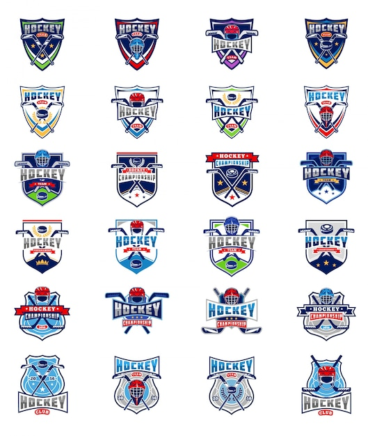 Vector set of color hockey badges, stickers, emblems Free Vector