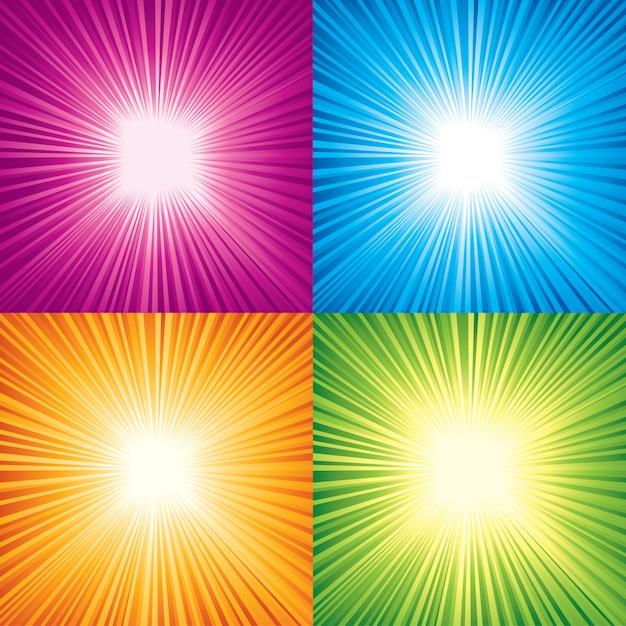 Vector set of color sunbeams. Premium Vector