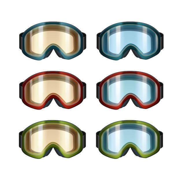 Insieme di vettore della vista frontale di occhiali da snowboard colorati blu, arancione dello sci isolato su priorità bassa bianca Vettore gratuito