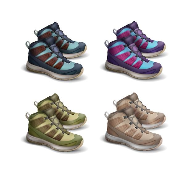 Insieme di vettore di colore marrone, verde, blu, viola, magenta vista laterale scarpe da ginnastica da viaggio isolato su priorità bassa bianca Vettore gratuito