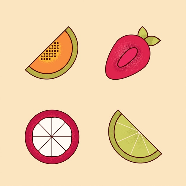 Vector set of colorful cartoon pieces of fruits icon Premium Vector