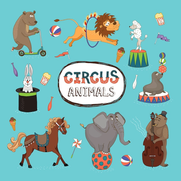 Insieme di vettore degli animali da circo colorati con una cornice centrale con il testo Vettore gratuito