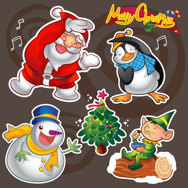 Vector set of colorful cute christmas characters and decorations Premium Vector