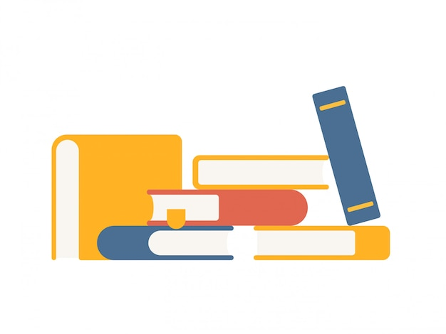 Vector set of colorful stacks of books in flat style Premium Vector