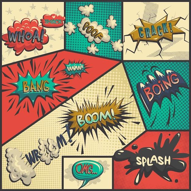 Vector set of comics icons Free Vector