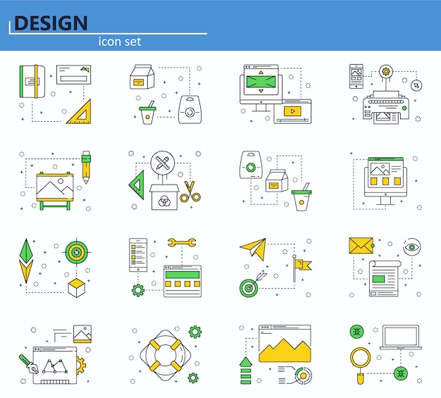 Vector set of computer, business, office and design icons