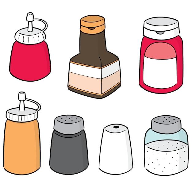 Vector set of condiment bottles Premium Vector