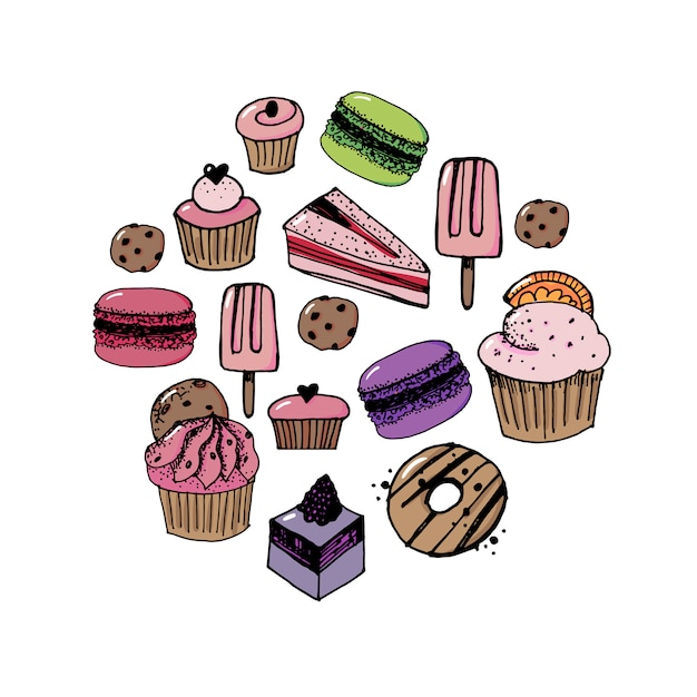 Vector set confectionery and sweets icons. Premium Vector